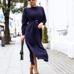 długa sukienka z dzianiny Bastet Fashion
